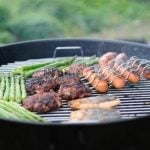 BBQ sizzling sausages and burgers