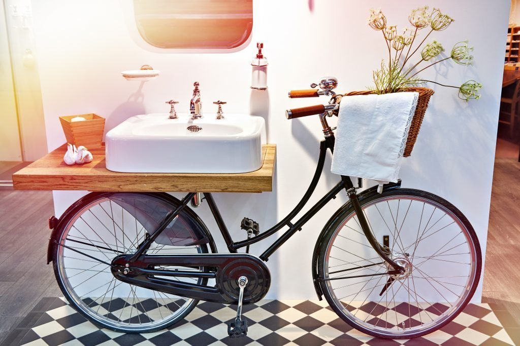 Bicycle upcycled to a sink