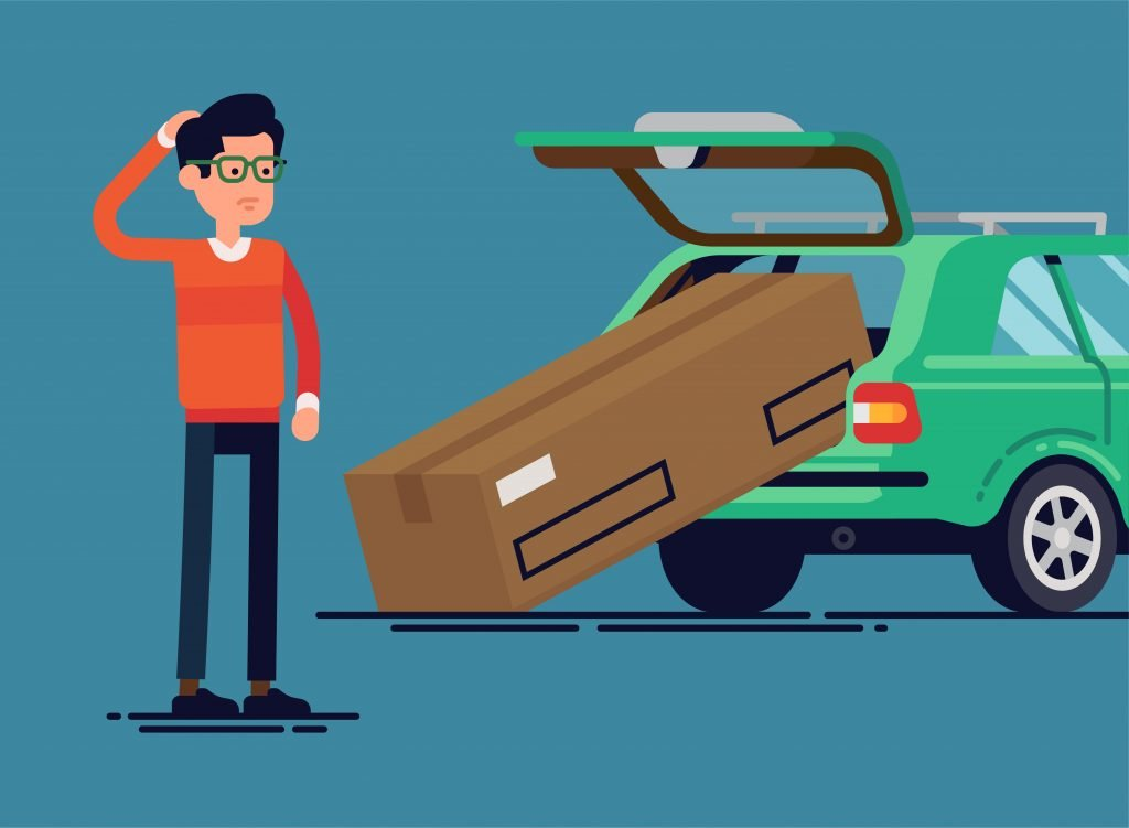 Cartoon man scratching his head looking at a box not fitting in a car thinking how do I move this